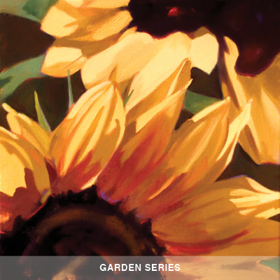 closeup painting of yellow flower and stamens, links to garden series