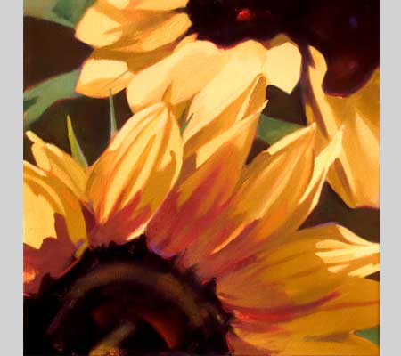 sunflower petals and centers, called First Blush
