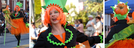 three photographs of laughing katharina dressed as pumpkinfest parade queen in 2012